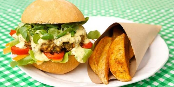Un burger vegan de Uno Cookbook